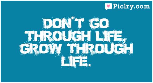 Don't go through life, grow through life