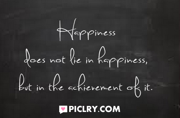 Happiness does not lie in happiness
