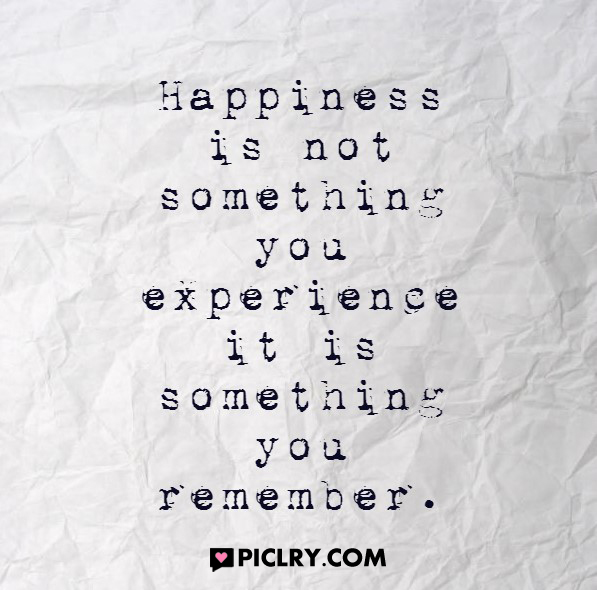 Happiness is not something you experience quote photo