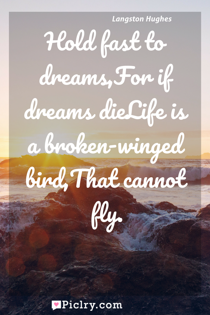 Meaning of Hold fast to dreams,For if dreams dieLife is a broken-winged bird,That cannot fly. - Langston Hughes quote photo - full hd4k quote wallpaper - Wall art and poster