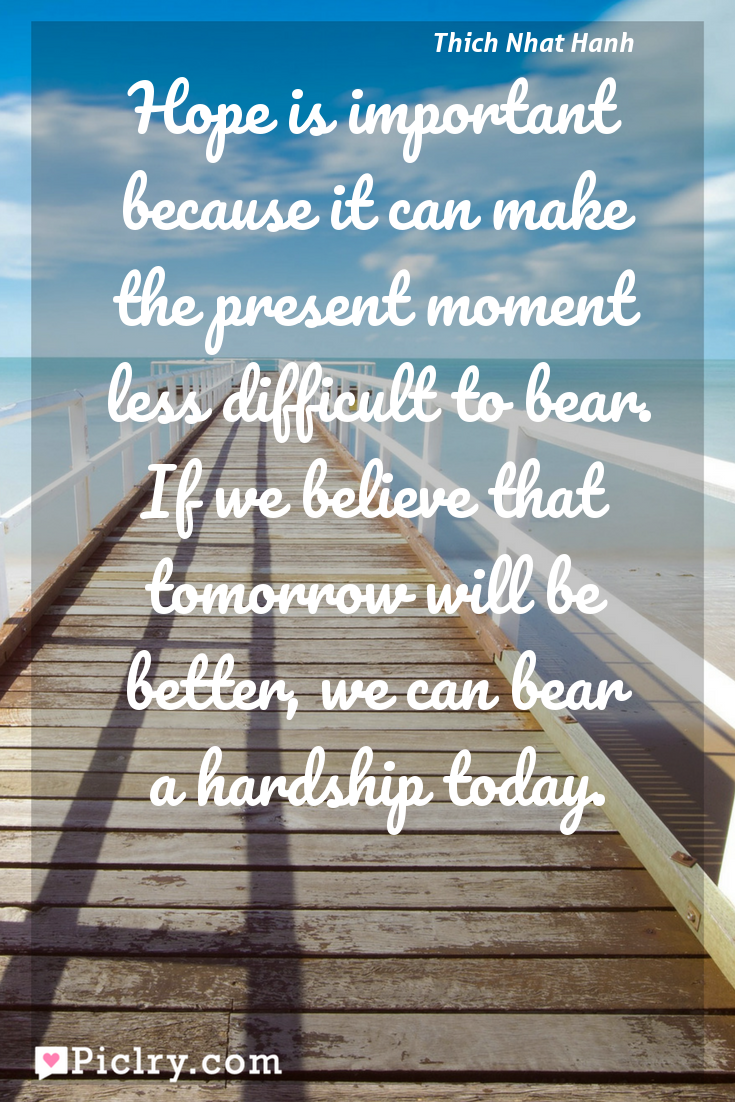 Meaning of Hope is important because it can make the present moment less difficult to bear. If we believe that tomorrow will be better, we can bear a hardship today. - Thich Nhat Hanh quote photo - full hd4k quote wallpaper - Wall art and poster