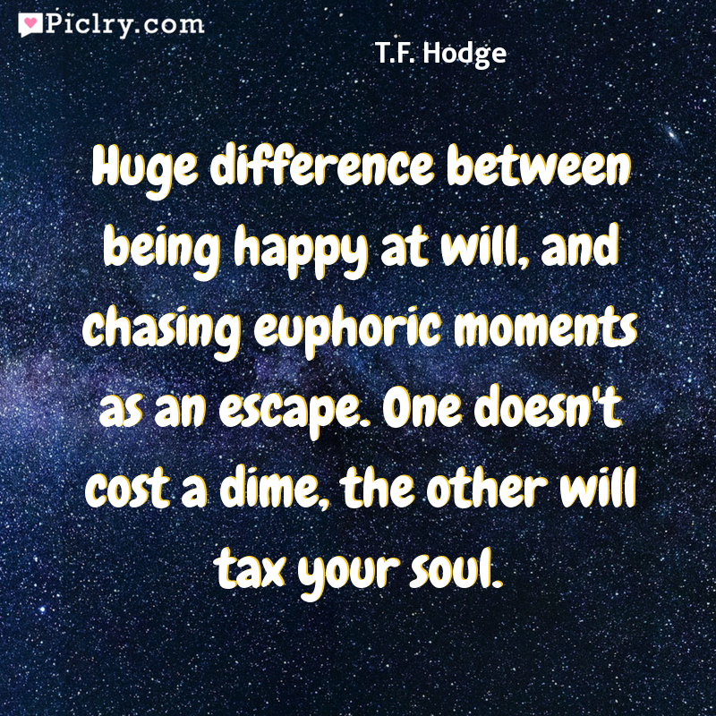 Meaning of Huge difference between being happy at will, and chasing euphoric moments as an escape. One doesn't cost a dime, the other will tax your soul. - T.F. Hodge quote photo - full hd 4k quote wallpaper - Wall art and poster