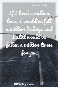 Meaning of If I lived a million lives, I would've felt a million feelings and I still would've fallen a million times for you. - Robert M. Drake quote photo - full hd4k quote wallpaper - Wall art and poster