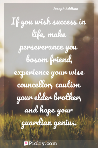 Meaning of If you wish success in life, make perseverance you bosom friend, experience your wise councellor, caution your elder brother, and hope your guardian genius. - Joseph Addison quote photo - full hd4k quote wallpaper - Wall art and poster
