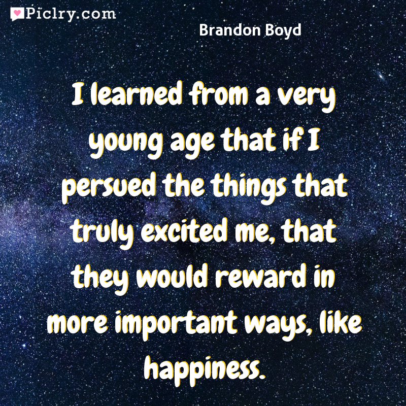 Meaning of I learned from a very young age that if I persued the things that truly excited me, that they would reward in more important ways, like happiness. - Brandon Boyd quote photo - full hd 4k quote wallpaper - Wall art and poster