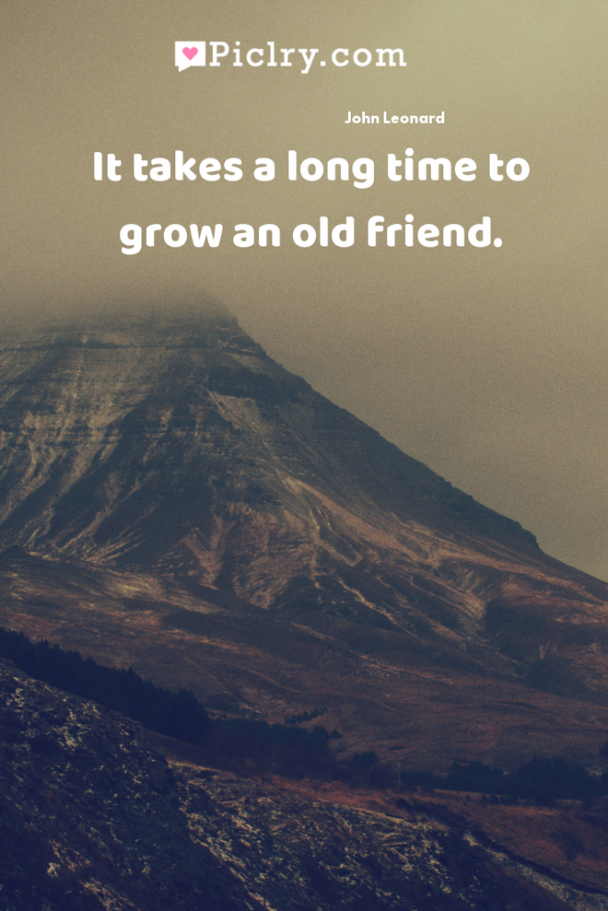 It takes a long time to grow an old friend. quote photo