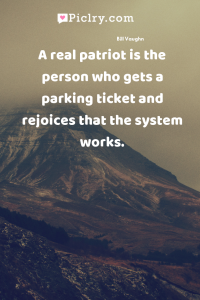 A real patriot is the person who gets a parking ticket and rejoices that the system works. quote photo