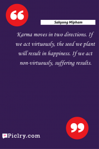 Meaning of Karma moves in two directions. If we act virtuously, the seed we plant will result in happiness. If we act non-virtuously, suffering results. - Sakyong Mipham quote photo - full hd4k quote wallpaper - Wall art and poster