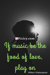 Meaning of If music be the food of love, play on William Shakespeare quote photo