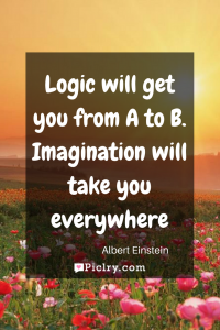 Meaning of Logic will get you from A to B. Imagination will take you everywhere. Albert Einstein quote photo