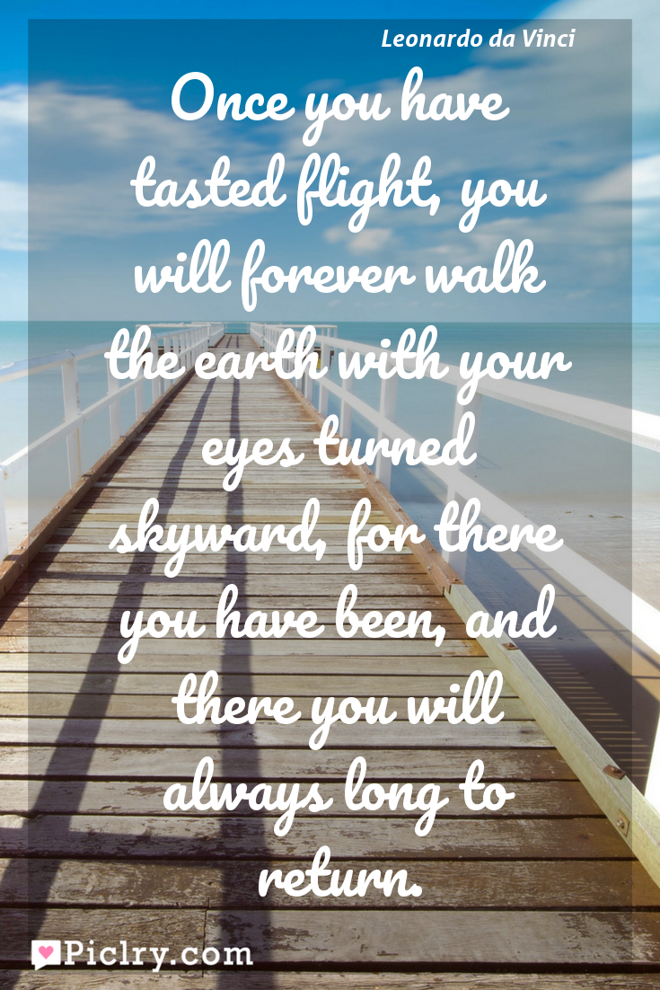 Meaning of Once you have tasted flight, you will forever walk the earth with your eyes turned skyward, for there you have been, and there you will always long to return. - Leonardo da Vinci quote photo - full hd4k quote wallpaper - Wall art and poster