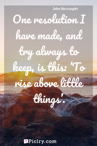 Meaning of One resolution I have made, and try always to keep, is this: 'To rise above little things'. - John Burroughs quote photo - full hd4k quote wallpaper - Wall art and poster