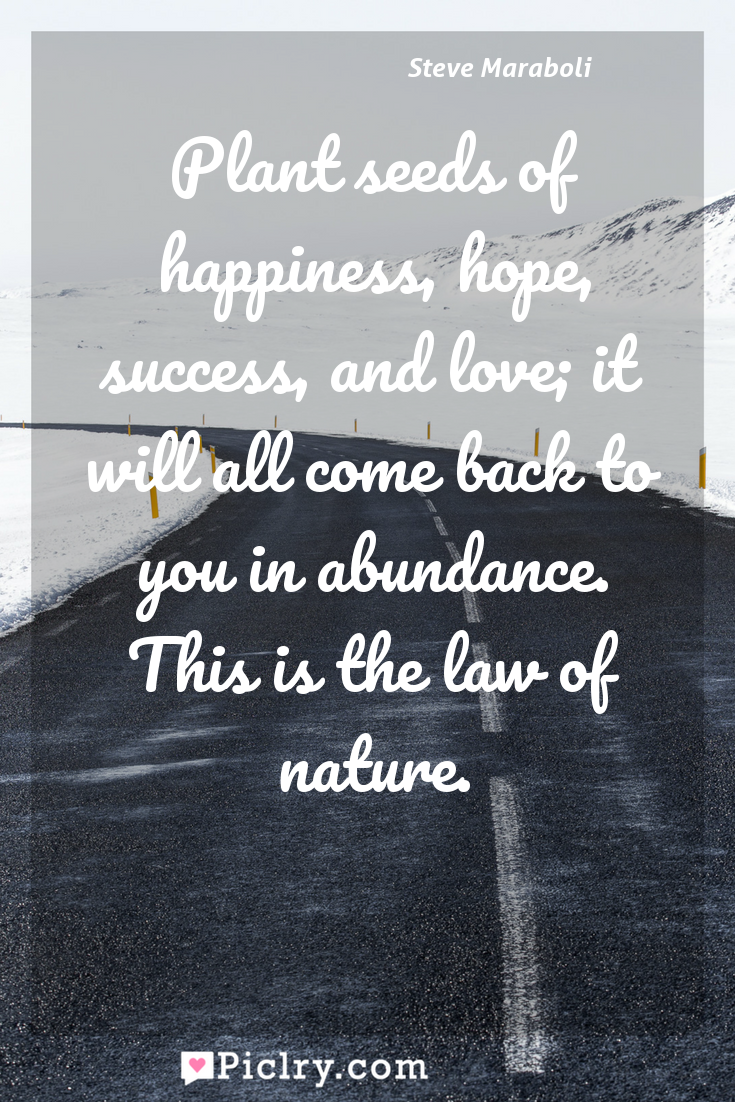 Meaning of Plant seeds of happiness, hope, success, and love; it will all come back to you in abundance. This is the law of nature. - Steve Maraboli quote photo - full hd4k quote wallpaper - Wall art and poster