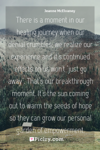 "Meaning of There is a moment in our healing journey when our denial crumbles; we realize our experience and it's continued effects on us won't ""just go away"". That's our breakthrough moment. It's the sun coming out to warm the seeds of hope so they can grow our personal garden of empowerment. - Jeanne McElvaney quote photo - full hd4k quote wallpaper - Wall art and poster"