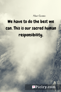 Meaning of We have to do the best we can. This is our sacred human responsibility. - Albert Einstein quote photo - full hd4k quote wallpaper - Wall art and poster