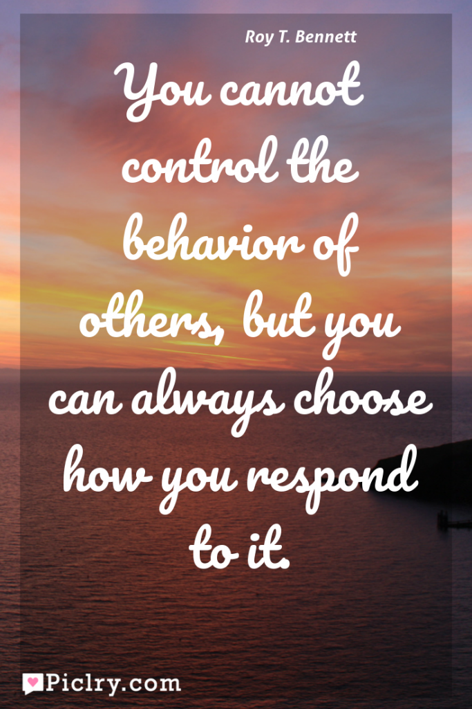 Meaning of You cannot control the behavior of others, but you can always choose how you respond to it. - Roy T. Bennett quote photo - full hd 4k quote wallpaper - Wall art and poster