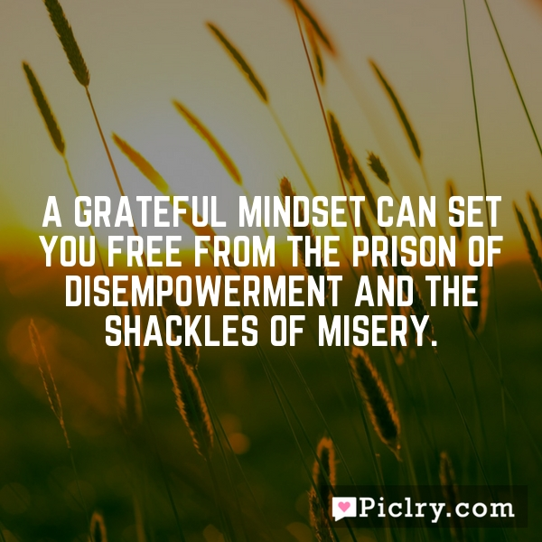 A grateful mindset can set you free from the prison of disempowerment and the shackles of misery.