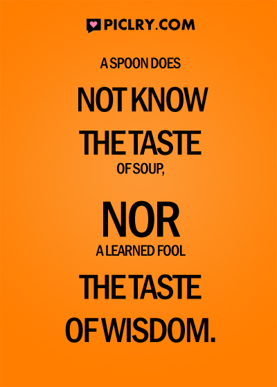 a spoon does not know the taste of soup quote photo