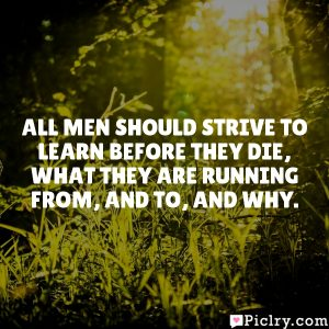 All men should strive to learn before they die, what they are running from, and to, and why.