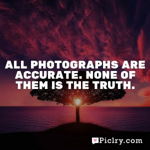 All photographs are accurate. None of them is the truth.