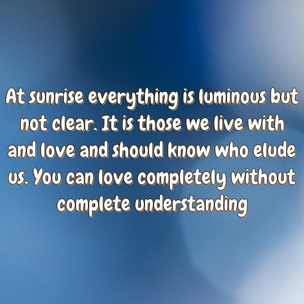 At sunrise everything is luminous but not clear. It is those we live with and love and should know who elude us. You can love completely without complete understanding
