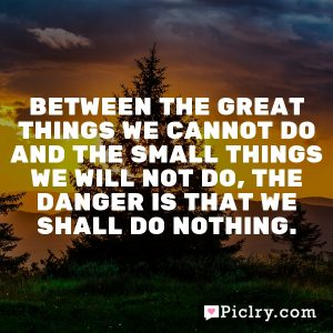 Between the great things we cannot do and the small things we will not do, the danger is that we shall do nothing.