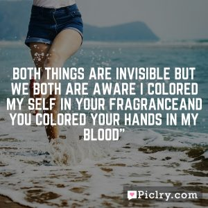 Both things are invisible But we Both are aware I colored my self in your fragranceAnd you colored your hands in my BLOOD""