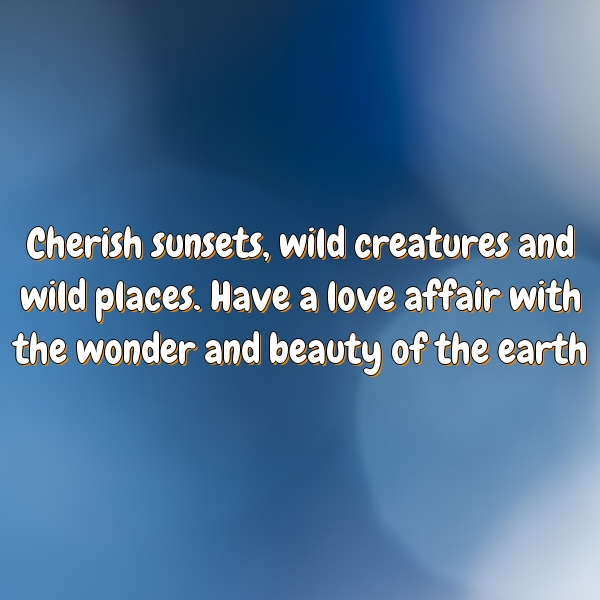 Cherish sunsets, wild creatures and wild places. Have a love affair with the wonder and beauty of the earth