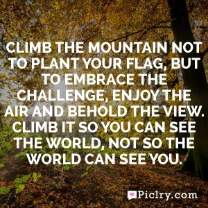 Climb the mountain not to plant your flag, but to embrace the challenge, enjoy the air and behold the view. Climb it so you can see the world, not so the world can see you.