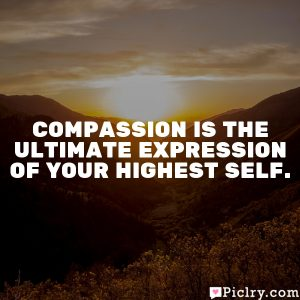 Compassion is the ultimate expression of your highest self.
