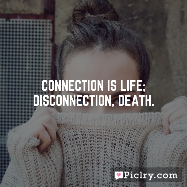Connection is life; disconnection, death.