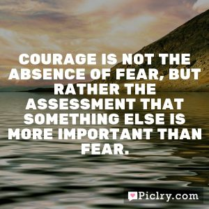 Courage is not the absence of fear, but rather the assessment that something else is more important than fear.