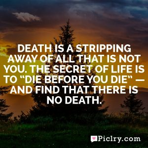 "Death is a stripping away of all that is not you. The secret of life is to ""die before you die"" — and find that there is no death."