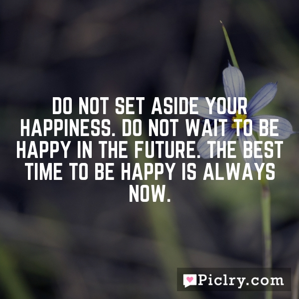 Do not set aside your happiness. Do not wait to be happy in the future. The best time to be happy is always now.