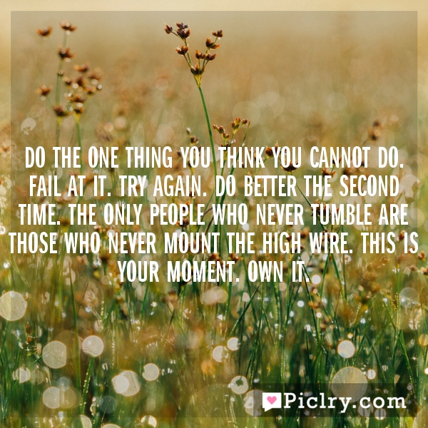 Do the one thing you think you cannot do. Fail at it. Try again. Do better the second time. The only people who never tumble are those who never mount the high wire. This is your moment. Own it.