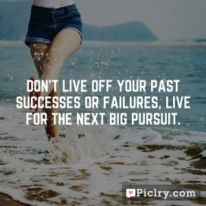 Don't live off your past successes or failures, live for the next big pursuit.