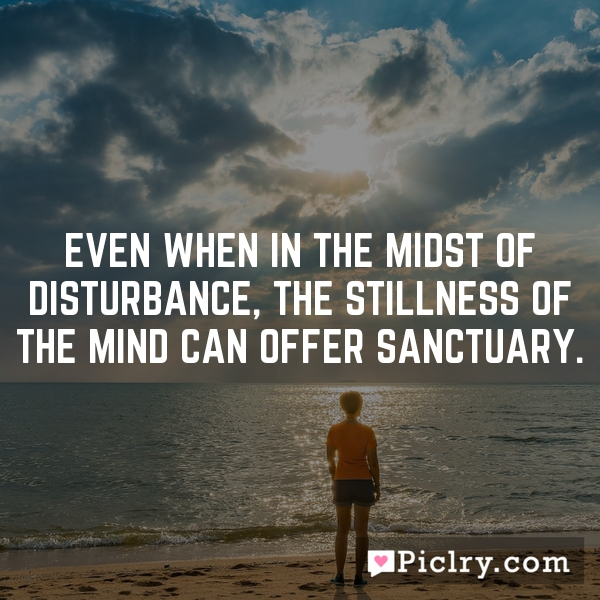 Even when in the midst of disturbance, the stillness of the mind can offer sanctuary.