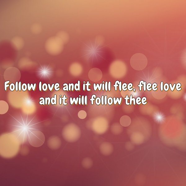 Follow love and it will flee, flee love and it will follow thee