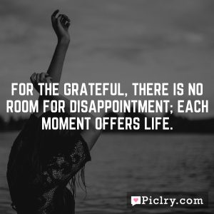 For the grateful, there is no room for disappointment; Each moment offers life.