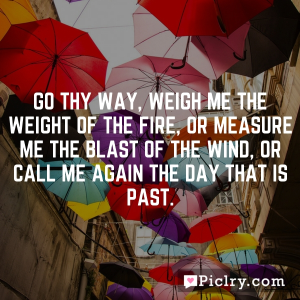 Go thy way, weigh me the weight of the fire, or measure me the blast of the wind, or call me again the day that is past.