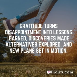 Gratitude turns disappointment into lessons learned, discoveries made, alternatives explored, and new plans set in motion.