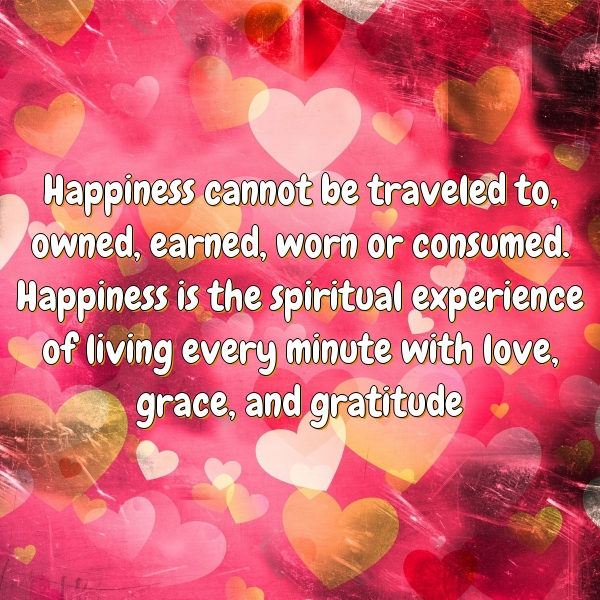 Happiness cannot be traveled to, owned, earned, worn or consumed. Happiness is the spiritual experience of living every minute with love, grace, and gratitude