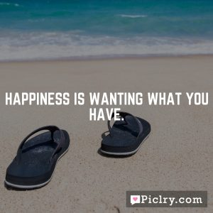 Happiness is wanting what you have.