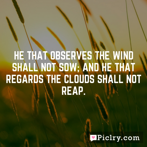 He that observes the wind shall not sow; and he that regards the clouds shall not reap.