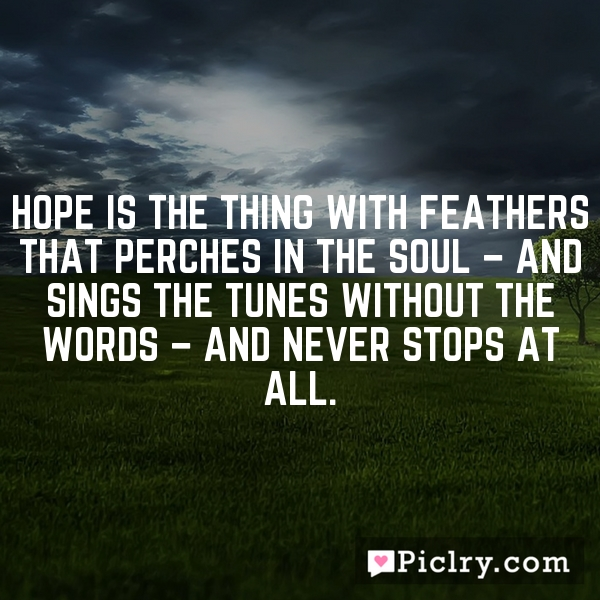 Hope is the thing with feathers that perches in the soul – and sings the tunes without the words – and never stops at all.
