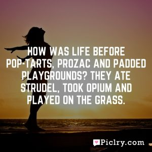 How was life before Pop-Tarts, Prozac and padded playgrounds? They ate strudel, took opium and played on the grass.