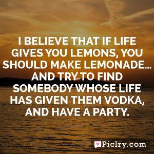 I believe that if life gives you lemons, you should make lemonade… And try to find somebody whose life has given them vodka, and have a party.