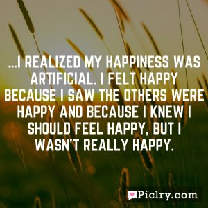 …I realized my happiness was artificial. I felt happy because I saw the others were happy and because I knew I should feel happy, but I wasn't really happy.