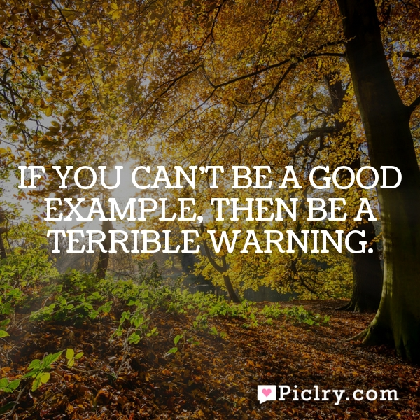 If you can't be a good example, then be a terrible warning.