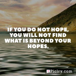 If you do not hope, you will not find what is beyond your hopes.